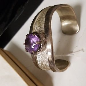 Sterling cuff with amethyst